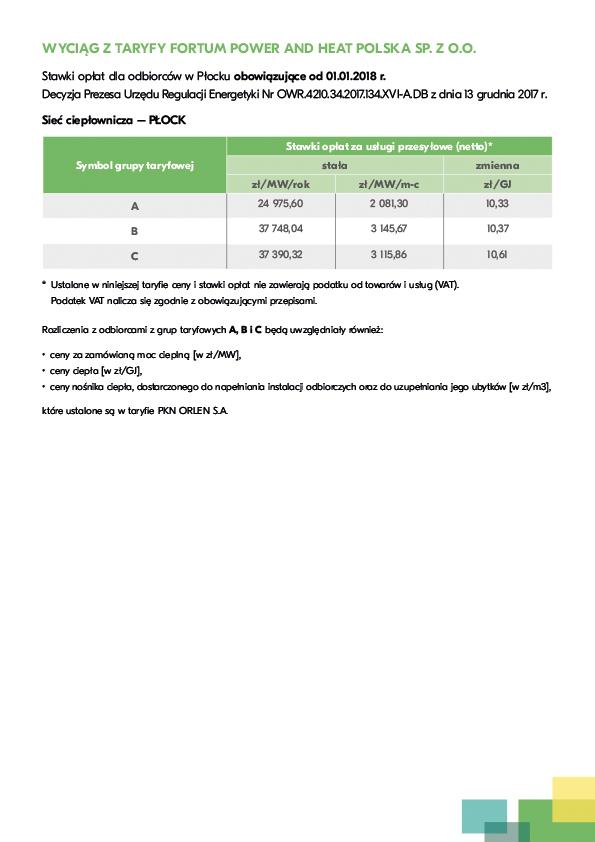 Stawki opłat ciepła dla odbiorców w Płocku